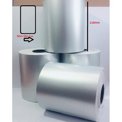Decal xi bạc 110mm x 50m liên tục