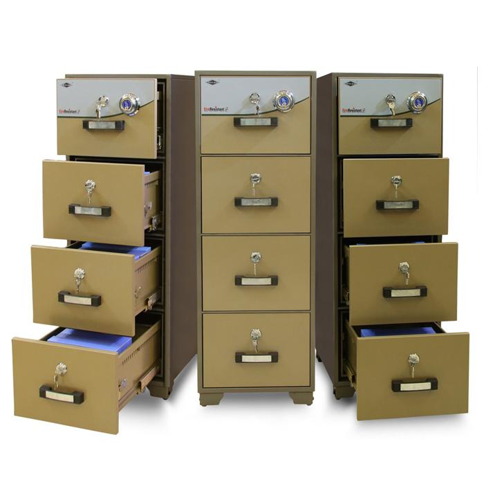 Tủ hồ sơ chống cháy 4 ngăn mầu vàng